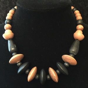 Jewelry - Vintage 2-tone Wood Bead Necklace A007